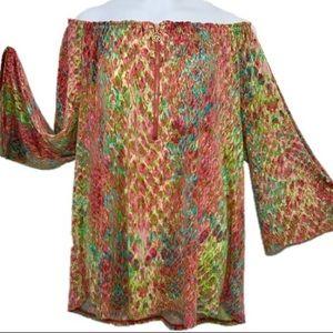 Anne Klein nostalgic blouse top size large New!